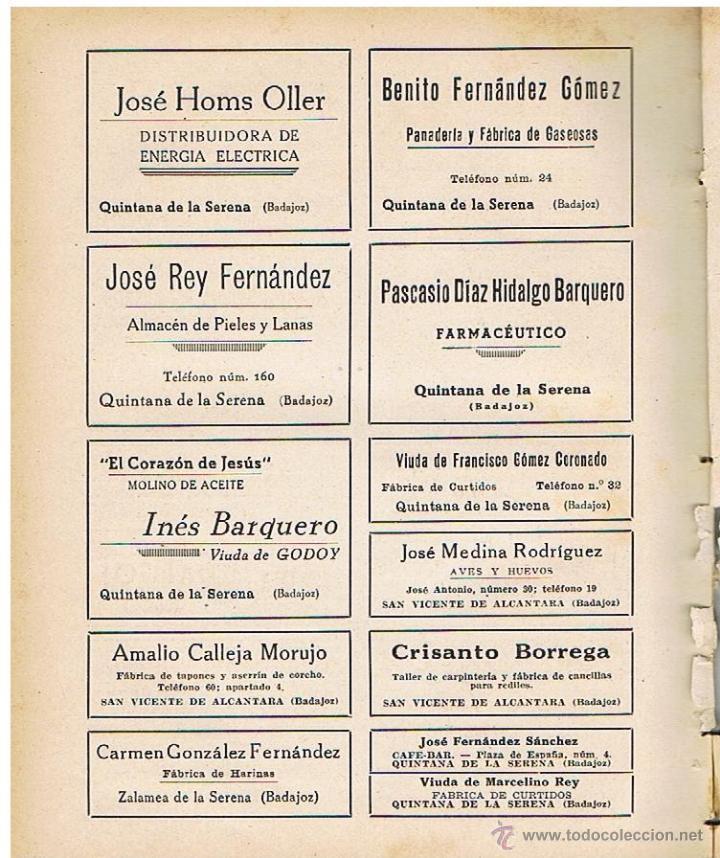 QUINTANA DE LA SERENA, SAN VICENTE DE ALCANTARA, ZALAMEA DE LA SERENA, BADAJOZ (Coleccionismo - Revistas y Periódicos Antiguos (hasta 1.939))