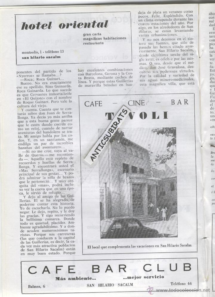 Coleccionismo de Revistas y Periódicos: REVISTA ANY 1965 GUILLERIES MONTSENY OSOR CAFE CINE TIVOLI SANT HILARI SACALM HOTEL SOLTERRA REGAS - Foto 2 - 47949322
