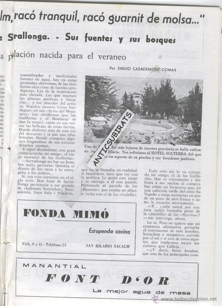 Coleccionismo de Revistas y Periódicos: REVISTA ANY 1965 GUILLERIES MONTSENY OSOR CAFE CINE TIVOLI SANT HILARI SACALM HOTEL SOLTERRA REGAS - Foto 4 - 47949322
