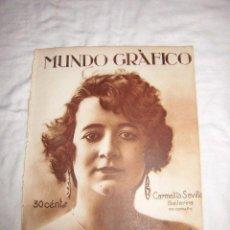 Coleccionismo de Revistas y Periódicos: CARMELITA SEVILLA BAILARINA/PILOSUBLIMADO,LA CARMELITA/PASTILLAS VAL HOJA REVISTA MUNDO GRAFICO 1922. Lote 47991734