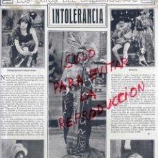 Coleccionismo de Revistas y Periódicos: INTOLERANCIA 1921 ARGUMENTO PELICULA HOJA REVISTA. Lote 48006152