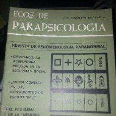 Coleccionismo de Revistas y Periódicos: ECOS DE PARAPSICOLOGÍA - REVISTA DE FENOMENOLOGÍA PARANORMAL 1975 N 7 Y 8. Lote 48006250