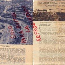 Coleccionismo de Revistas y Periódicos: RIOTINTO 1933 LABOR SOCIAL Y BENEFICA MINAS 2 HOJAS REVISTA. Lote 48104293