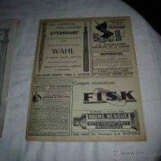 Coleccionismo de Revistas y Periódicos: PUBLICIDAD PLUMA EVERSHARP Y LAPICERO WAHL,NEUMATICOS FISK/DEPURATOL HOJA REVISTA MUNDO GRAFICO 1922. Lote 48105573