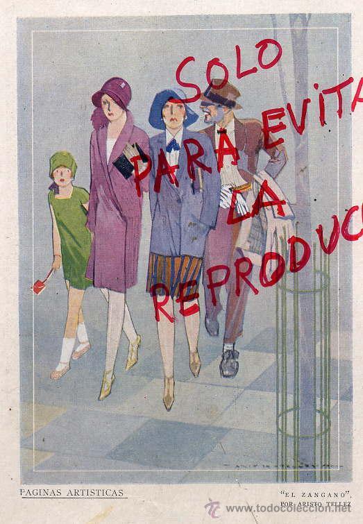 ARISTO TELLEZ 1928 EL ZANGANO ILUSTRACION HOJA REVISTA (Coleccionismo - Revistas y Periódicos Antiguos (hasta 1.939))