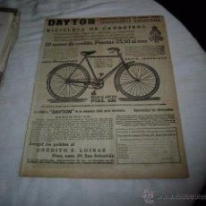 Coleccionismo de Revistas y Periódicos: DAYTON BICICLETA DE CARRETERA/EVERSHARP HOJA REVISTA MUNDO GRAFICO 1922. Lote 48419119