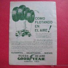 Coleccionismo de Revistas y Periódicos: GOODDYEAR.-RUEDA DE AIRE.-NEUMATICOS.-PROPAGANDA DE REVISTA.-AÑO 1933.. Lote 48470392