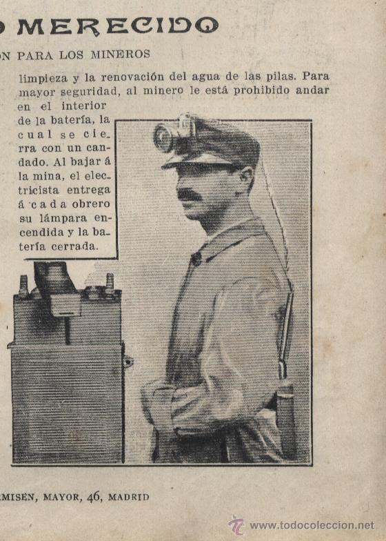 * MINERÍA * LÁMPARA EDISON PARA LOS MINEROS - 1913 (Coleccionismo - Revistas y Periódicos Antiguos (hasta 1.939))
