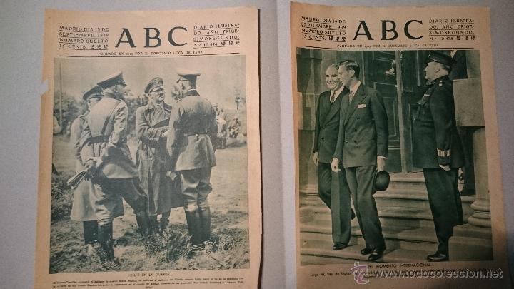 5 PORTADAS DEL ABC 1939 MES DE SEPTIEMBRE (Coleccionismo - Revistas y Periódicos Antiguos (hasta 1.939))