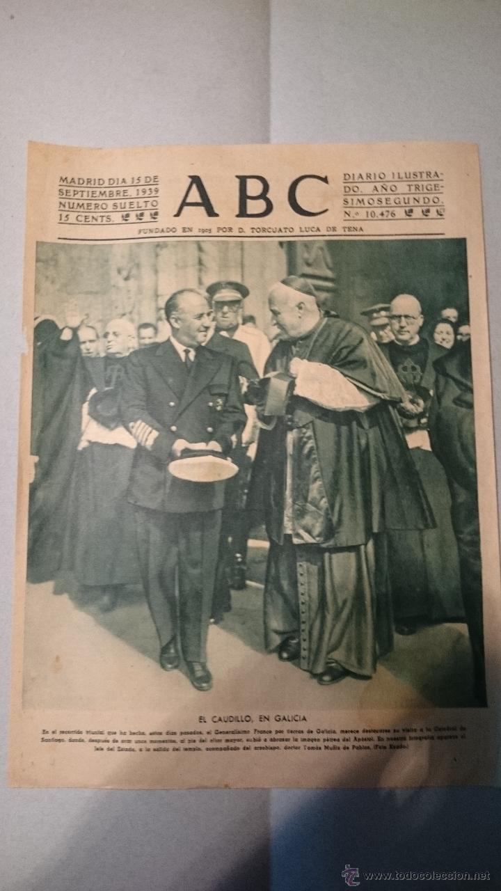 Coleccionismo de Revistas y Periódicos: 5 PORTADAS DEL ABC 1939 MES DE SEPTIEMBRE - Foto 2 - 48749639