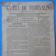 Coleccionismo de Revistas y Periódicos: GACETA DE TRIBUNALES. AÑO IV. MADRID, 10 DE ENERO DE 1892. Nº 2. 8 PÁGINAS.. Lote 50322055