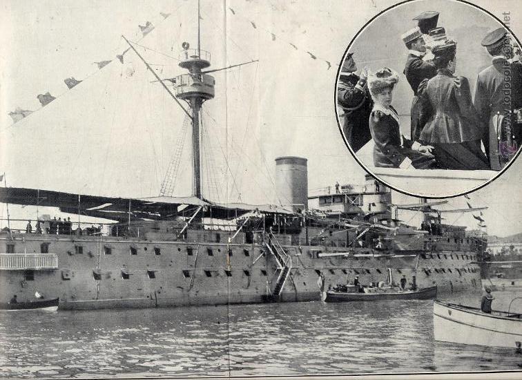 ACORAZADO PELAYO 1906 VISITA REYES A MALAGA 2 HOJAS REVISTA (Coleccionismo - Revistas y Periódicos Modernos (a partir de 1.940) - Otros)