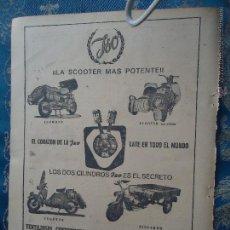 Collezionismo di Riviste e Giornali: HOJA PUBLICIDAD PUBLICITARIA - AÑOS 50 - JSO MOTOS MOTO SCOOTER ISOCARRO ..2 CILINDROS .... Lote 207740438