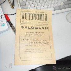 Coleccionismo de Revistas y Periódicos: PERIODICO AUTONOMIA SANT ANDREU DEL PALOMAR FEBRER 1919. Lote 50930802