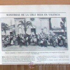 Coleccionismo de Revistas y Periódicos: VALENCIA EN 1906, MANIOBRAS CRUZ ROJA EN RECORTE (R1470) 1 FOTO REVISTA BLANCO Y NEGRO 5 ABRIL 1906. Lote 50962499