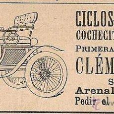 Coleccionismo de Revistas y Periódicos: PUBLICIDAD CICLOS-MOTOCICLOS CLÉMENT - 1900. Lote 50974400