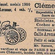 Coleccionismo de Revistas y Periódicos: * AUTOMÓVIL * PUBLICIDAD COCHE LIGERO CLEMENT MODELO 1900 - 1900. Lote 50974919