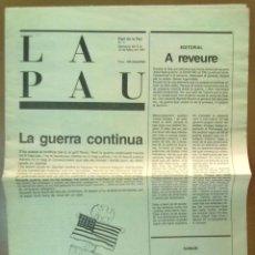 Coleccionismo de Revistas y Periódicos: DIARI DE LA PAU Nº 7 MARÇ 1991 TASSIES PERICH DIBUJOS. Lote 51021890