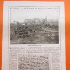 Coleccionismo de Revistas y Periódicos: ARTICULO 1914 - CASTILLO DE CETINA VALLE DEL JALON PARTIDA CASAMIENTO QUEVEDO ZARAGOZA - 1 PAGINA. Lote 51073398