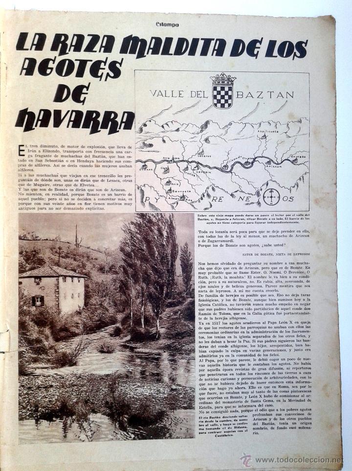 Coleccionismo de Revistas y Periódicos: ESTAMPA Nº 379 - 20 ABRIL 1935 - NAVARRA - EXTREMADURA - Foto 2 - 51128155