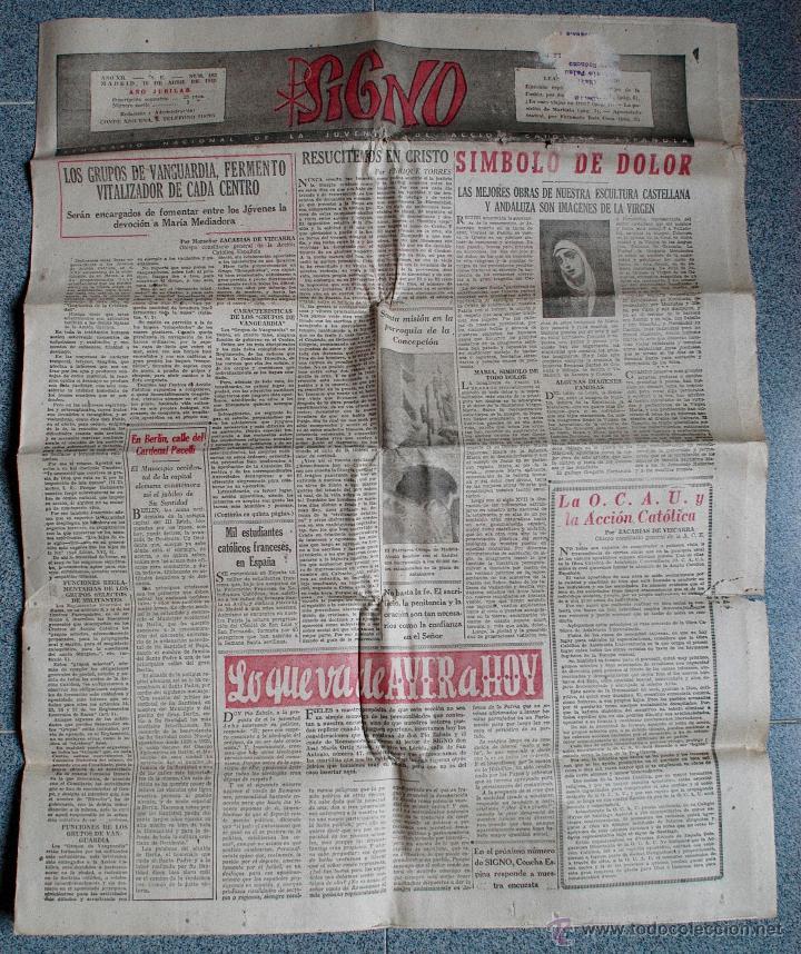 SIGNO, SEMANARIO NACIONAL DE LA JUVENTUD DE ACCION CATOLICA ESPAÑOLA, ABRIL 1949 (Coleccionismo - Revistas y Periódicos Modernos (a partir de 1.940) - Otros)