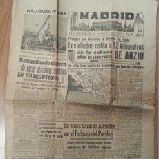 Coleccionismo de Revistas y Periódicos: DIARIO MADRID. II GUERRA MUNDIAL. 23 MAYO 1944. BATALLA DE ITALIA. Lote 51184299