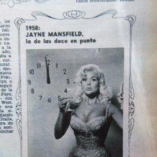 Coleccionismo de Revistas y Periódicos: RECORTE JAYNE MANSFIELD. Lote 51189084