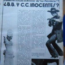 Coleccionismo de Revistas y Periódicos: RECORTE BRIGITTE BARDOT CLAUDIA CARDINALE. Lote 51256353