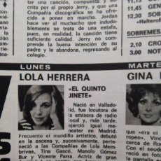 Coleccionismo de Revistas y Periódicos: RECORTE LOLA HERRERA. Lote 51414512