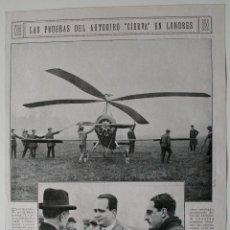 Coleccionismo de Revistas y Periódicos: HOJA DE REVISTA ORIGINAL AÑOS 20. LAS PRUEBAS DEL AUTOGIRO CIERVA EN LONDRES. Lote 51449857