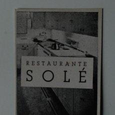 Coleccionismo de Revistas y Periódicos: PUBLICIDAD DE REVISTA ORIGINAL 1940. RESTAURANTE SOLÉ, BARCELONA. Lote 51555493