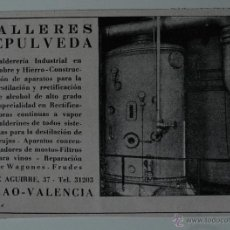 Coleccionismo de Revistas y Periódicos: PUBLICIDAD DE REVISTA ORIGINAL 1940. TALLERES SEPULVEDA (GRAO, VALENCIA). Lote 51560218