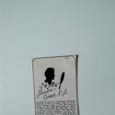 Coleccionismo de Revistas y Periódicos: PUBLICIDAD DE REVISTA ORIGINAL 1940. ALVAREZ GOMEZ, DROGUERIA INDUSTRIAL, CARTAGENA. Lote 51560480