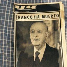 Coleccionismo de Revistas y Periódicos: PERIODICO YA MUERTE DE FRANCO. Lote 52342333