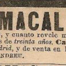Coleccionismo de Revistas y Periódicos: PUBLICIDAD MEDICAMENTO PERLA ESTOMACAL - 1901. Lote 52438873