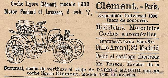 PUBLICIDAD COCHE LIGERO CLÉMENT, MODELO 1900 - 1901 (Coleccionismo - Revistas y Periódicos Antiguos (hasta 1.939))