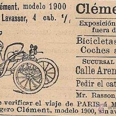 Coleccionismo de Revistas y Periódicos: PUBLICIDAD COCHE LIGERO CLÉMENT, MODELO 1900 - 1901. Lote 52441704