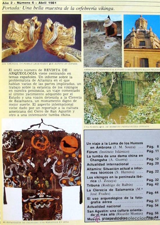 Coleccionismo de Revistas y Periódicos: REVISTA DE ARQUEOLOGÍA Nº 6 / ABRIL 1981 - ZUGARTO EDICIONES - VER ÍNDICE - Foto 2 - 55290917