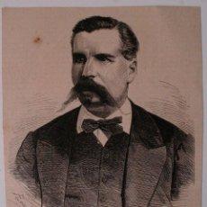 Coleccionismo de Revistas y Periódicos: GRABADO DE REVISTA ORIGINAL 1880. JOSE MALCAMPO Y MONGE, CONTRA ALMIRANTE ARMADA, FALLECIDO SANLUCAR. Lote 53138278