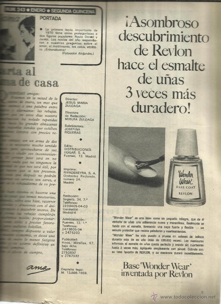Coleccionismo de Revistas y Periódicos: REVISTA AMA. ENERO 1970. Nº 243. ROCÍO DÚRCAL. JUNIOR. PEDRO LAVIRGEN. PACO RABAL - Foto 2 - 53177945