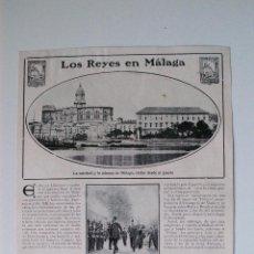 Coleccionismo de Revistas y Periódicos: 2 PÁGINAS DE REVISTA ORIGINALES 1910. LOS REYES EN MALAGA. Lote 53329479