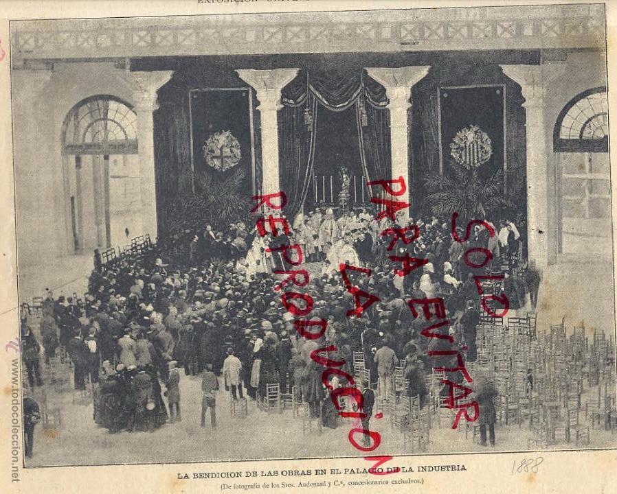 BARCELONA 1888 BENDICION PALACIO DE INDUSTRIA EXPOSICION UNIVERSAL HOJA REVISTA (Coleccionismo - Revistas y Periódicos Antiguos (hasta 1.939))