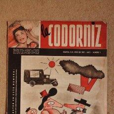 Coleccionismo de Revistas y Periódicos: REVISTA LA CODORNIZ. MADRID, 8 DE JUNIO DE 1941. AÑO I. NÚMERO 1. WENCESLAO FERNÁNDEZ FLÓREZ.. Lote 92685885