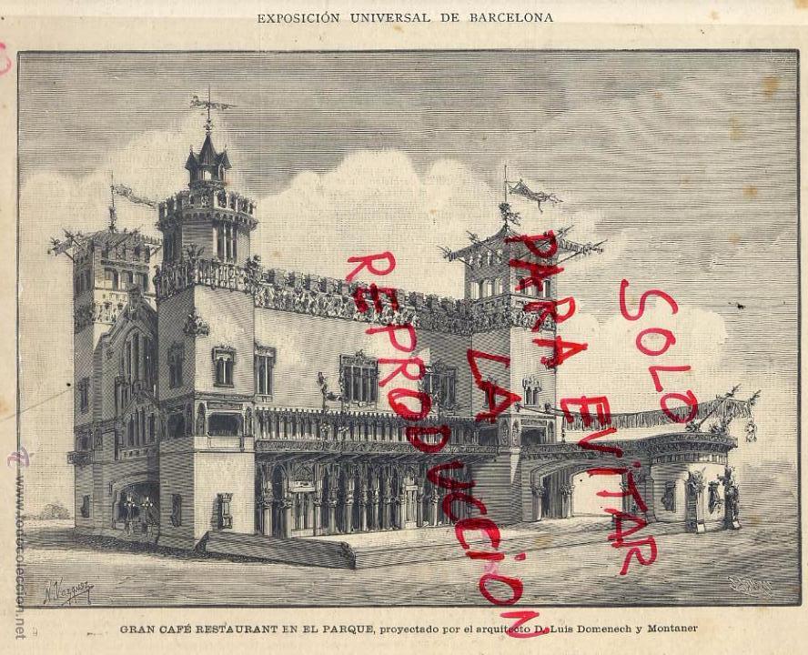 BARCELONA 1888 EXPOSICION UNIVERSALGRAN GAFE RESTAURANTE HOJA REVISTA (Coleccionismo - Revistas y Periódicos Antiguos (hasta 1.939))