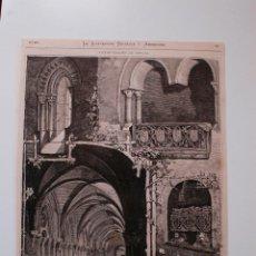 Coleccionismo de Revistas y Periódicos: GRABADO DE REVISTA ORIGINAL 1880. RECUERDOS DEL REAL MONASTERIO DE RUEDA, ZARAGOZA (ESCATRON). Lote 53397651