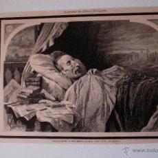 Coleccionismo de Revistas y Periódicos: GRABADO DE REVISTA ORIGINAL 1880. ULTIMOS MOMENTOS DE FERNANDEZ DE LOS RIOS, POR PELLICER. Lote 53397738