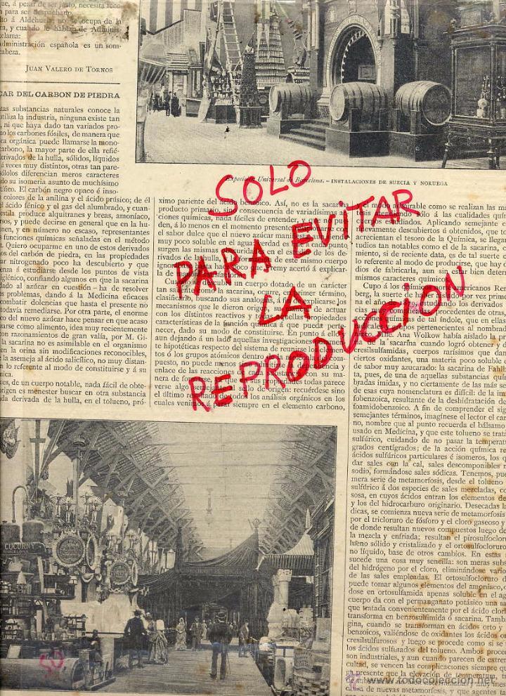 EXPOSICION UNIVERSAL 1888 BARCELONA STANDS ESPAÑOLES HOJA REVISTA (Coleccionismo - Revistas y Periódicos Antiguos (hasta 1.939))