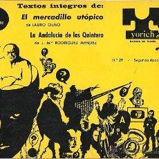 Coleccionismo de Revistas y Periódicos: YORICK (REVISTA DE TEATRO Nº 29). Lote 53467975