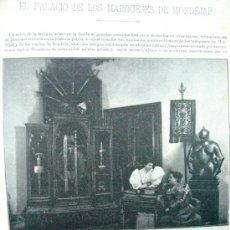 Coleccionismo de Revistas y Periódicos: KAULAK. MADRID PALACIO MARQUESES DE MONDEJAR 1896 HOJA DE REVISTA DE EPOCA BYN 17-10-1896. Lote 53561454