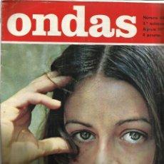 Coleccionismo de Revistas y Periódicos: REVISTA ONDAS. AGOSTO. 1971. Nº 449. JOAN MANUEL SERRAT. TONY RONALD. LIZ TAYLOR. EMMA COHEN. Lote 53718940